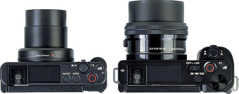 Sony ZV-E10 in size comparison with ZV-1 and Alpha 6400